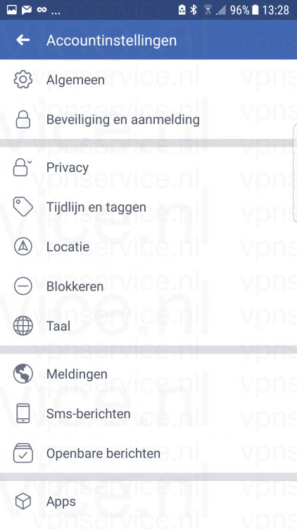 Android 002 Facebook Accountinstellingen overzicht