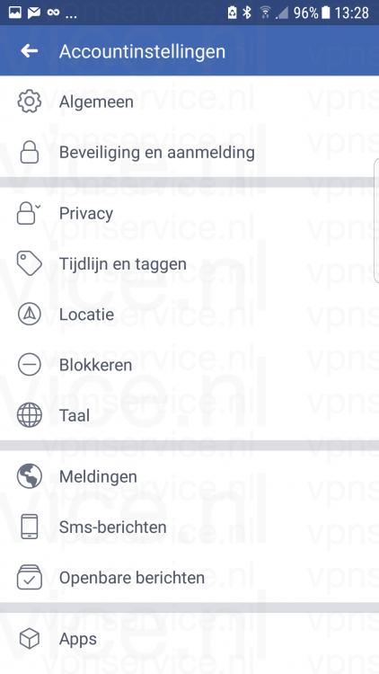 Android 002 Facebook Accountinstellingen overzicht