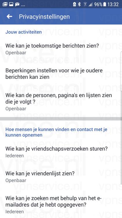 Facebook Privacy Instellingen overzicht op Android
