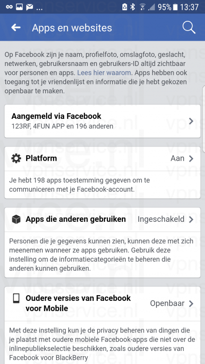 Android 004 Facebook Privacy Instellingen Apps en Websites