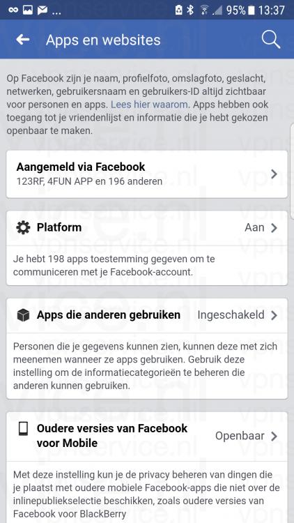 Android 004 Facebook Privacy Instellingen Apps en Websites