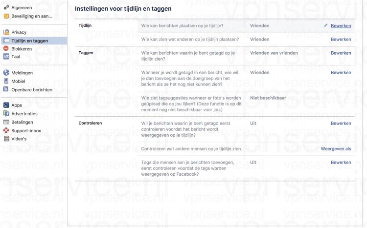 Facebook Privacy Instellingen Tijdlijn en taggen instellingen aanpassen