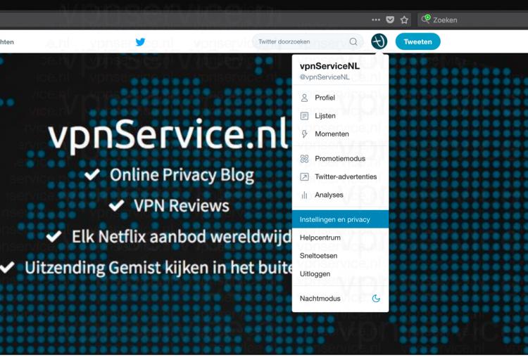 Twitter Privacy Instellingen openen browser
