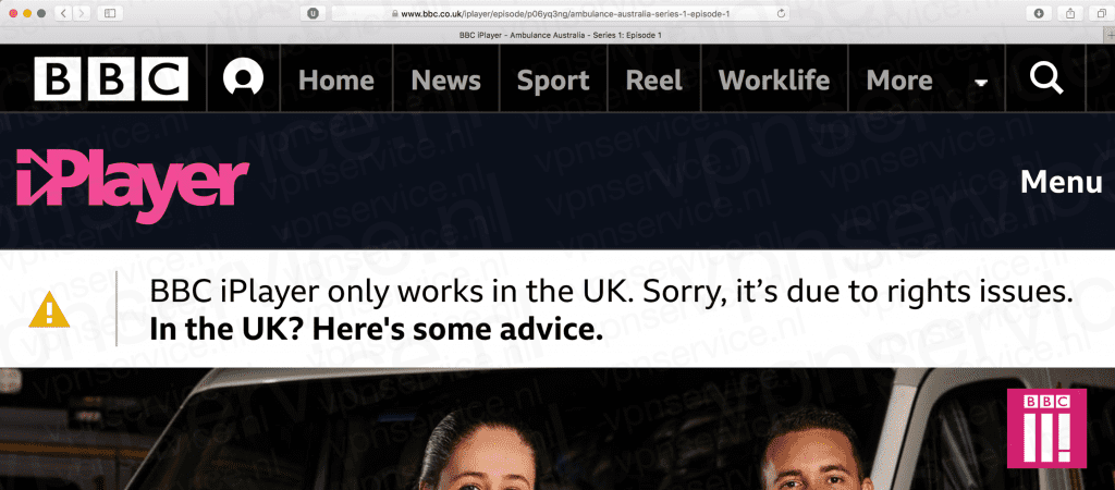 BBC iPlayer only works in the UK