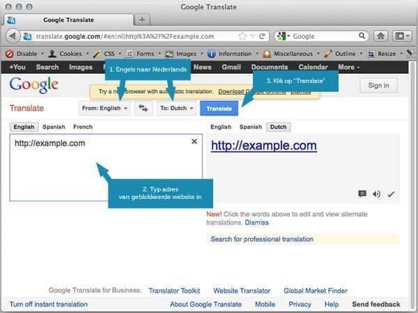 Blokkade omzeilen met Google Translate