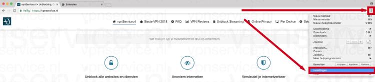Open de Instellingen van Google Chrome