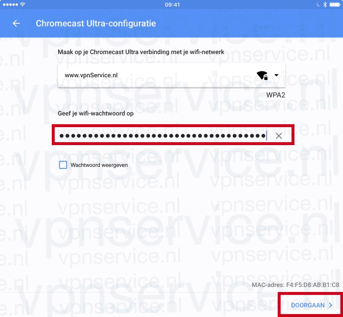Typ het wachtwoord voor de VPN WIFI spot en kies Doorgaan/Continue