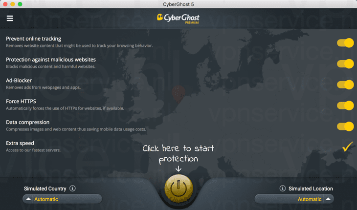 Cyberghost Mac App Hoofdscherm