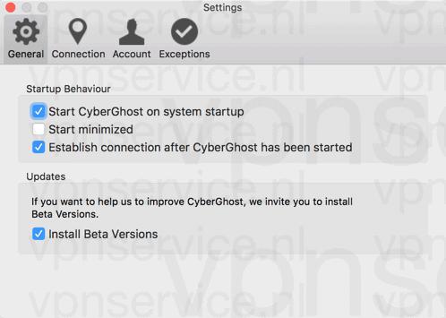 Cyberghost Mac App Opties Algemeen