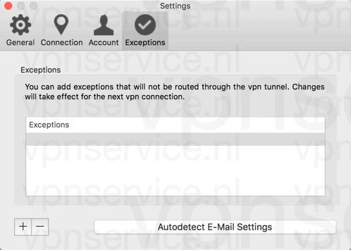 Cyberghost Mac App Opties Uitzonderingen