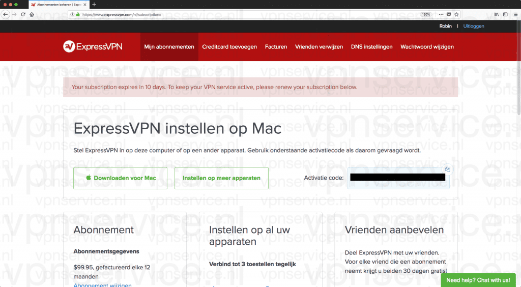 ExpressVPN Control Panel Accountbeheer