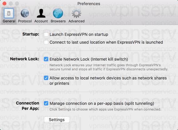 Algemene Instellingen ExpressVPN Desktop