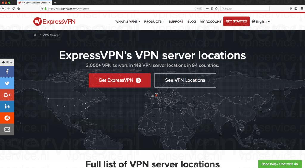 ExpressVPN Server Lijst