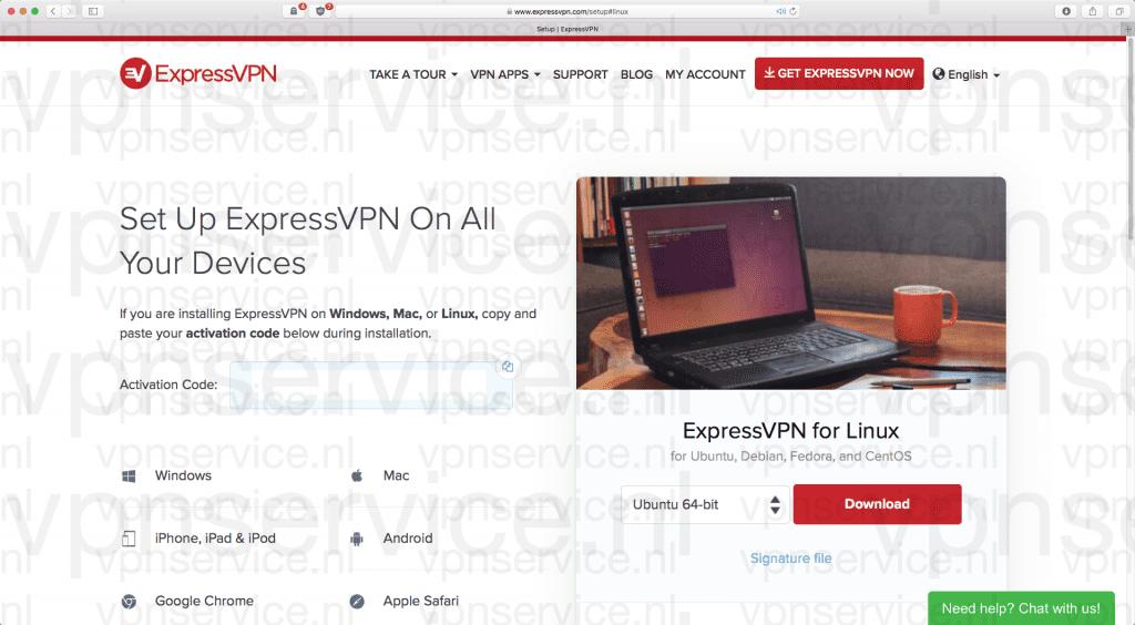 Download ExpressVPN app voor Linux