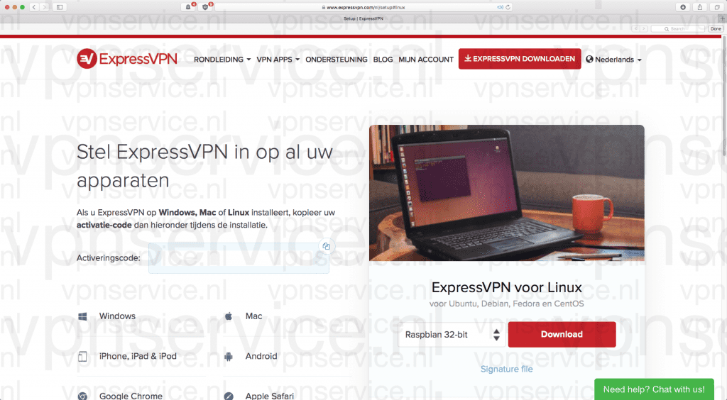 Download ExpressVPN app voor Raspberry Pi