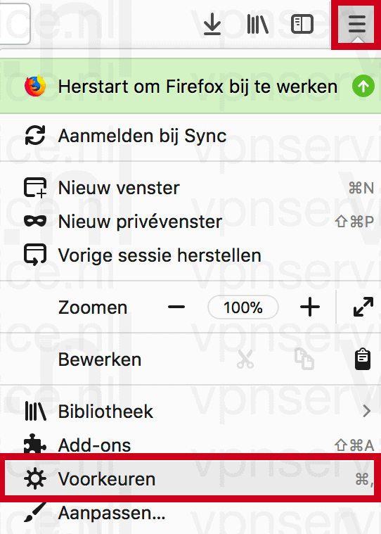 Firefox instellingen openen op Windows