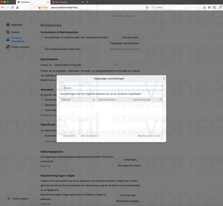 Firefox privacy en beveiliging instellingen: Opgeslagen wachtwoorden verwijderen