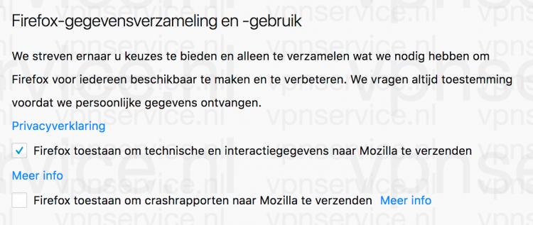 Firefox technische en interactiegegevens uitschakelen