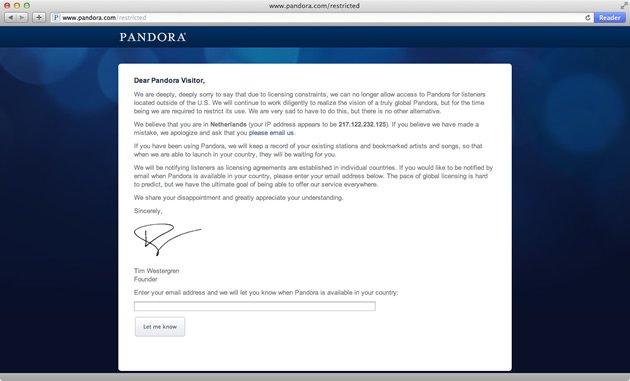 Geografische blokkade Pandora