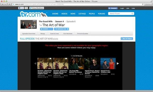 Geografische blokkade TV.com