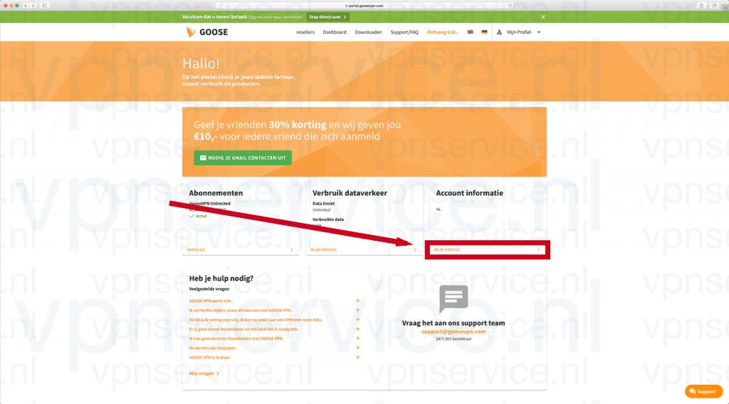 """Goose VPN opzeggen stap 1: Log in en kies """"Mijn Profiel"""""""