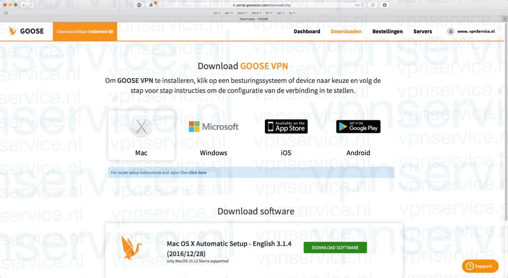 Control panel van Goose VPN voor klanten