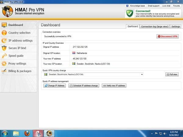 HideMyAss VPN client Windows Dashboard
