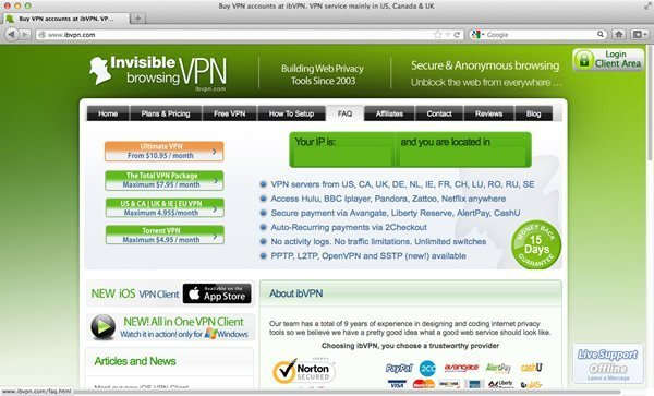 Invisible Browsing VPN Homepage