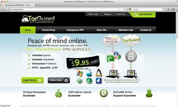 TorGuard VPN Homepage