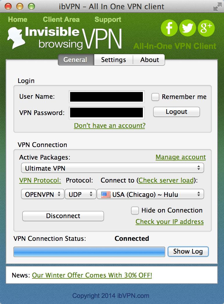 De IBVPN applicatie geeft duidelijk aan welke server je nodig hebt om Hulu te kijken.