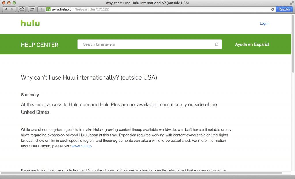 Officiële verklaring van Hulu.com