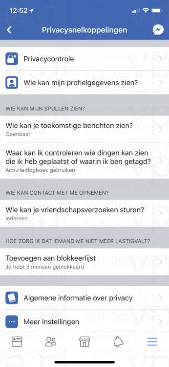iOS Facebook Privacy Instellingen Privacysnelkoppelingen overzicht