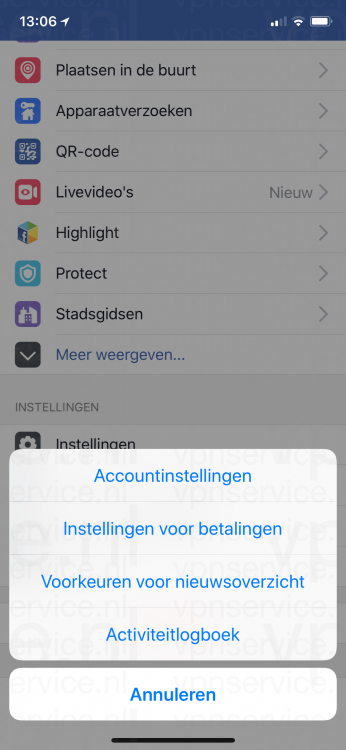 iOS Facebook Privacy Instellingen Accountinstellingen