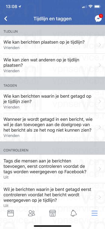 Facebook Privacy Instellingen Tijdlijn en Taggen instellingen iOS