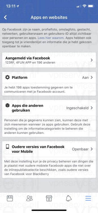 iOS Facebook Privacy Instellingen Apps en Websites