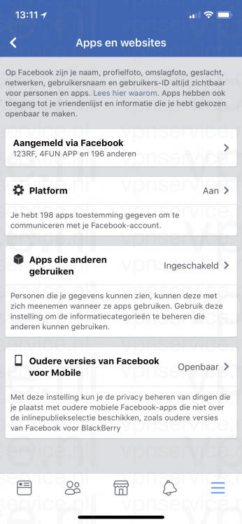 iOS Facebook Privacy Instellingen Apps en Websites