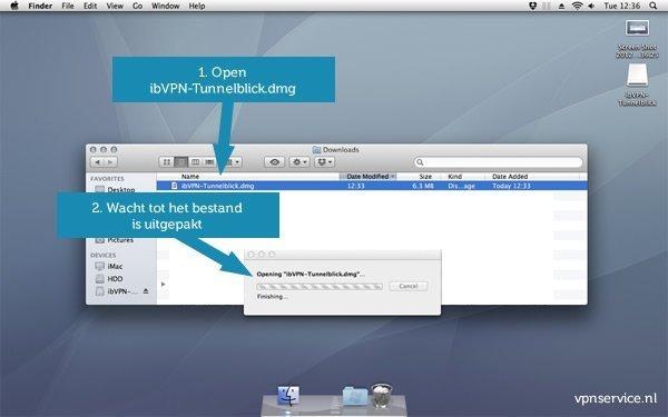 Open VPN installeren op Mac OSX - Stap 1: Open Tunnelblick en wacht tot het bestand is uitgepakt