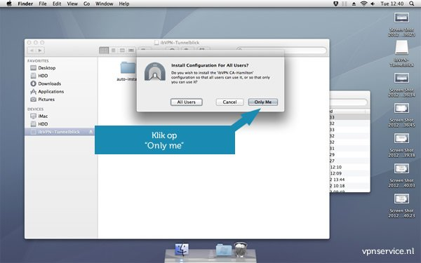 Open VPN installeren op Mac OSX - Stap 5: Klik op ONLY ME
