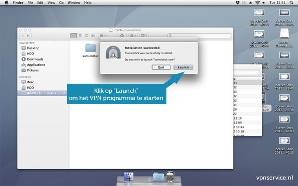 Open VPN installeren op Mac OSX - Stap 8: Klik op LAUNCH om het VPN programma te starten