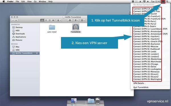 Open VPN installeren op Mac OSX - Stap 11: Klik op het Tunnelblick icoon rechtbovenin en kies een VPN server