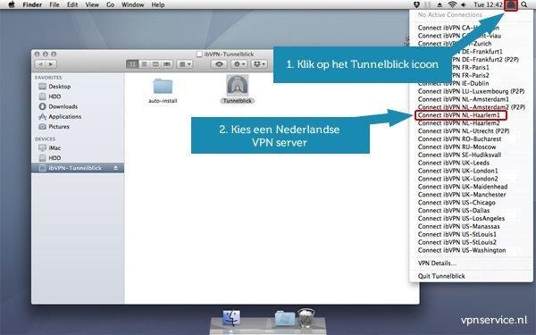 Open VPN installeren op Mac OSX - Stap 11: Klik op het Tunnelblick icoon rechtbovenin en kies een Nederlandse VPN server