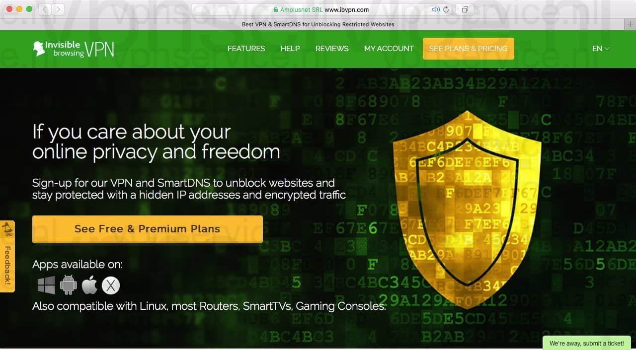 IBPVN VPN provider homepage