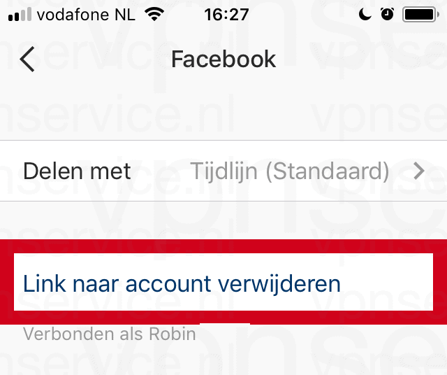 Instagram Koppeling naar Facebook account verwijderen