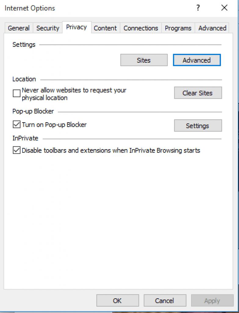 Geavanceerde opties openen in Internet Explorer