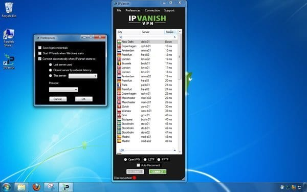 IPVanish VPN Applicatie Windows
