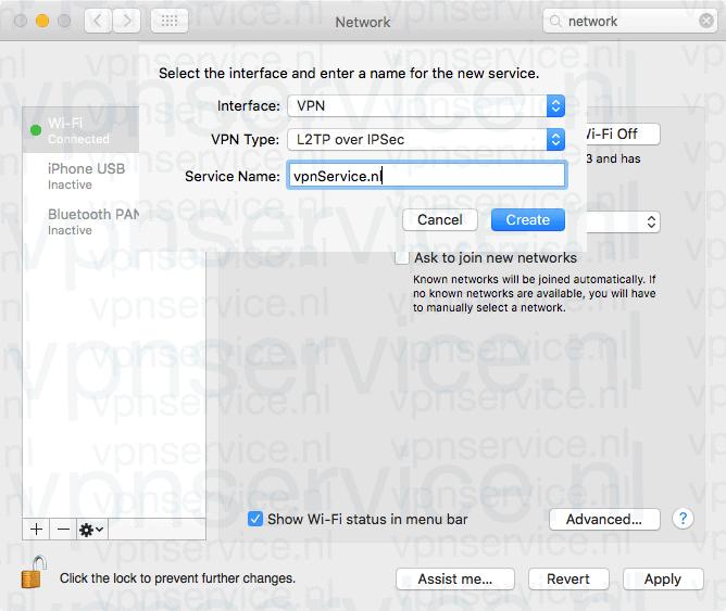 Kies VPN, L2TP en verzin een naam