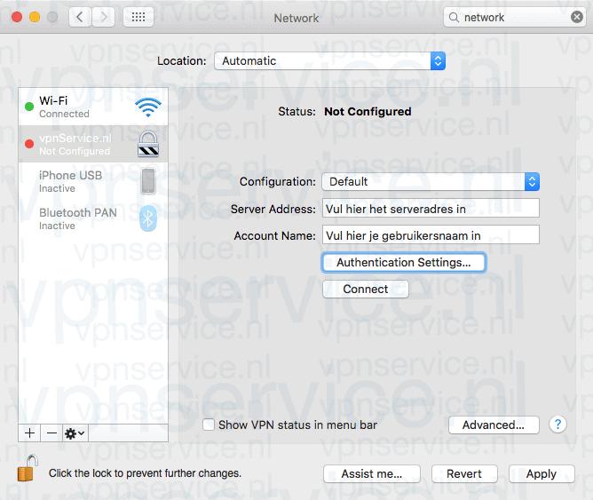 Vul het serveradres en je gebruikersnaam in en kies Authentication Settings ofwel Instellingen Identiteitscontrole