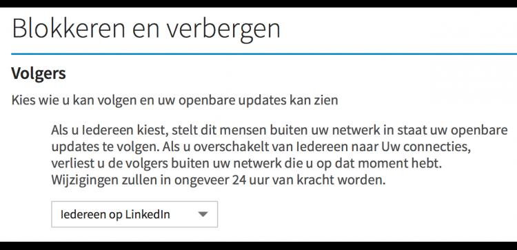 Updates op LinkedIN verbergen