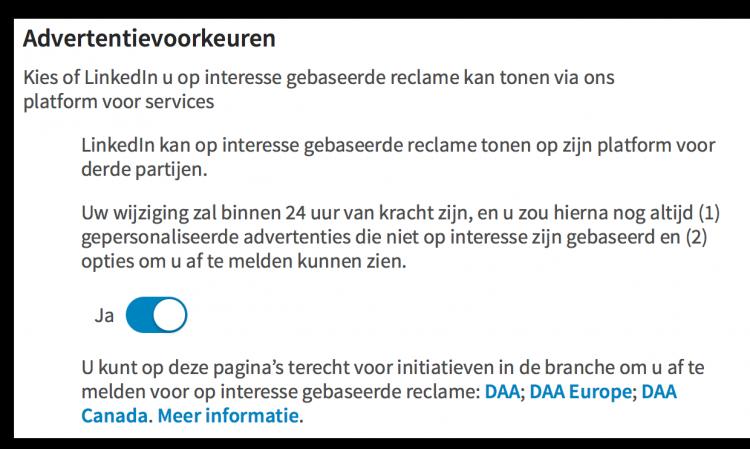 Advertentievoorkeuren wijzigen voor meer privacy op LinkedIN