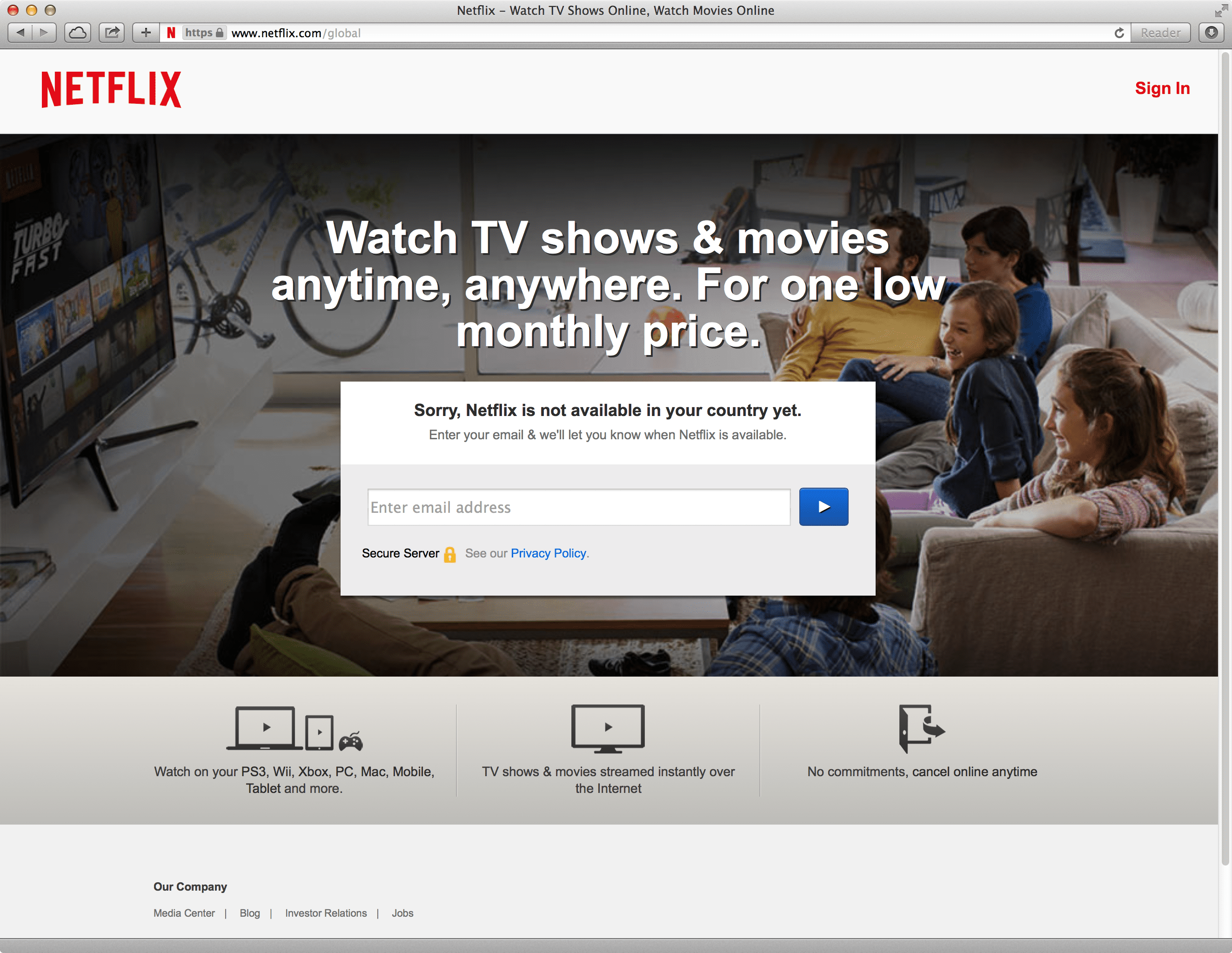 Netflix aanbod error: Netflix is not available in your country yet